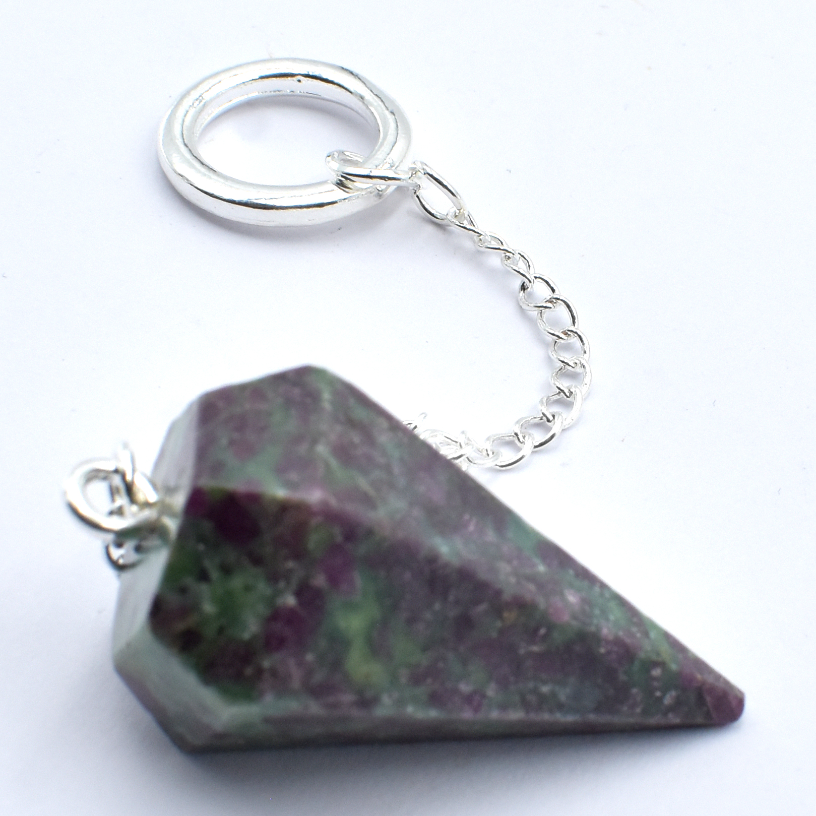 Ruby In Fuschite Six Sided Crsytal Pendulums