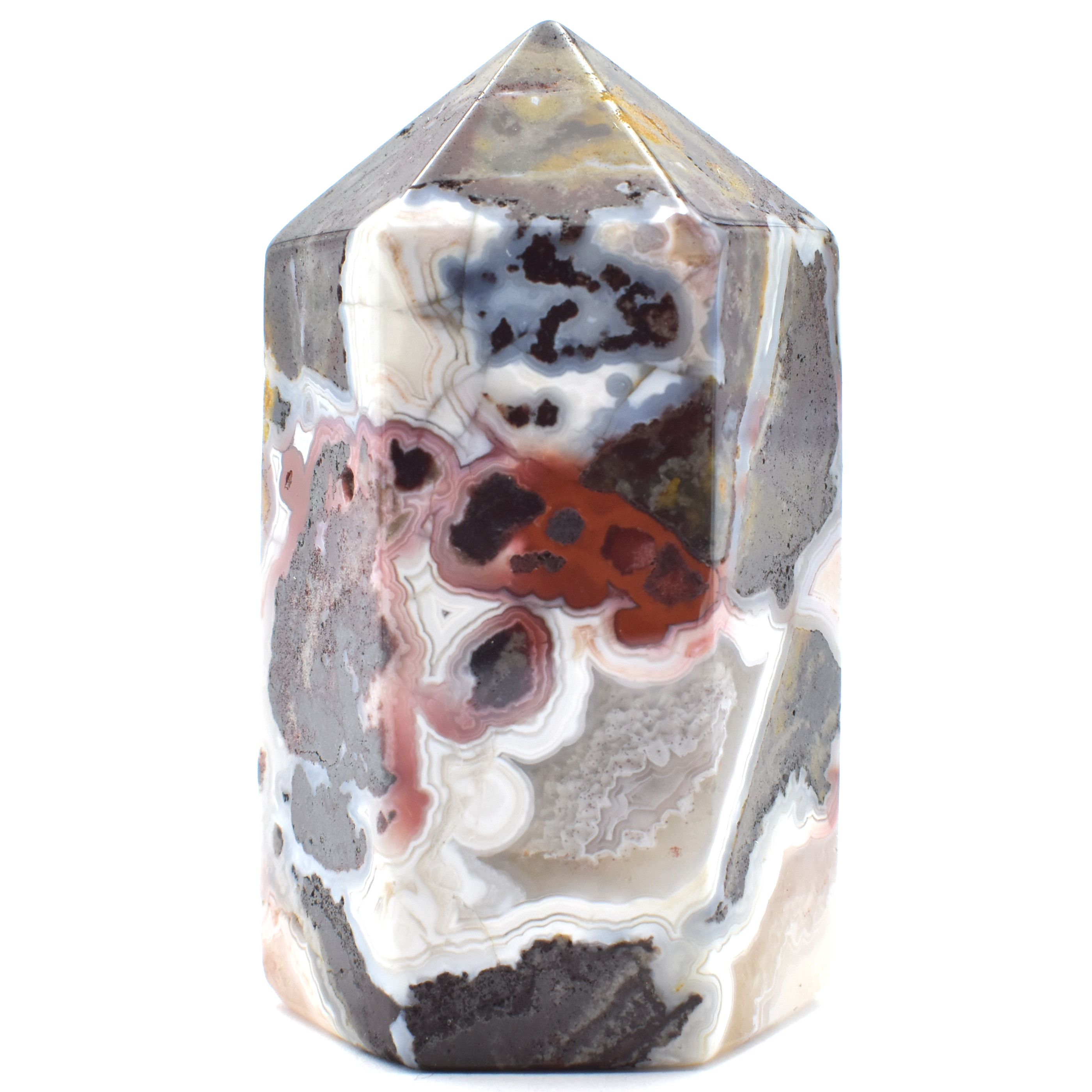 Six Sided Polished White Agate Crazy Lace Crystal Generator