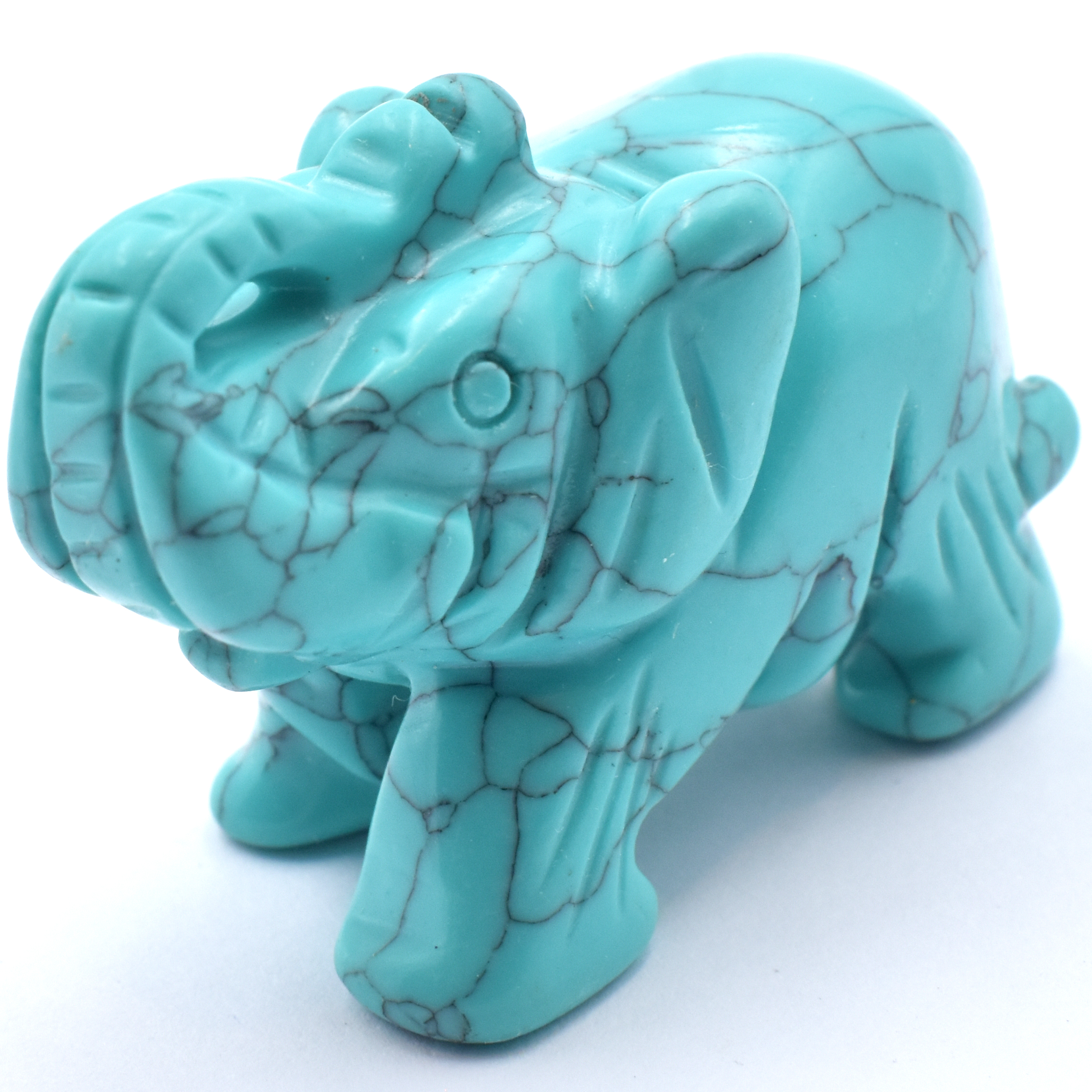 Howlite Turquoise Crystal Carving Elephants