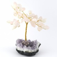 Wholesale Natural Crystals Australia Crystal Trees rose quartz on amethyst