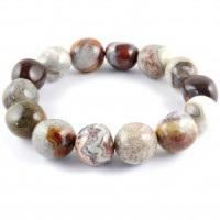 Australia Natural Crystal Jewellery Tumbled Crystal Bracelet agate crazy lace red