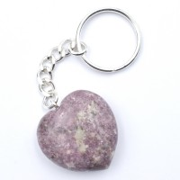 Lepidolite Pink Keyrings Hearts crystals and stones wholesale