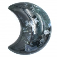 Agate Green Moss Crystal Crescent Moon