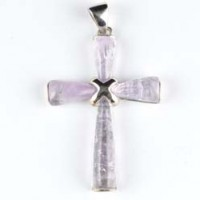 Crystal Jewellery Pendant cross amethyst .925 silver