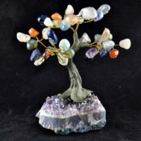 Natural Crystal Crystal Tree Rainbow on Amethyst Base