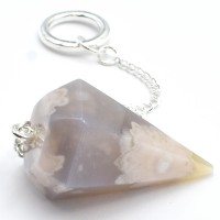 Agate Blossoms Six Sided Crystal Pendulum