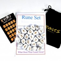Wholesale Crystals Natural Polished Engraved Stone Rune Set Howlite White