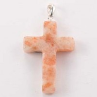 Wholesale Stones Jewellery Crystal Pendant Cross Sunstone