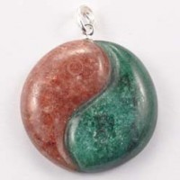 Wholesale Rocks and Stones Crystal Pendant Yin Yang Fuschite and Muscovite